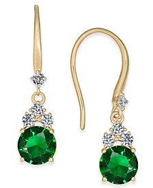 Gold-Tone Cubic Zirconia & Glass Drop Earrings, Created For Macy's