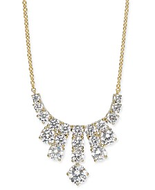 "Gold-Tone Cubic Zirconia Statement Necklace, 16"" + 1"" extender, Created For Macy's"