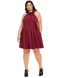 Plus Size Tie-Neck Dress