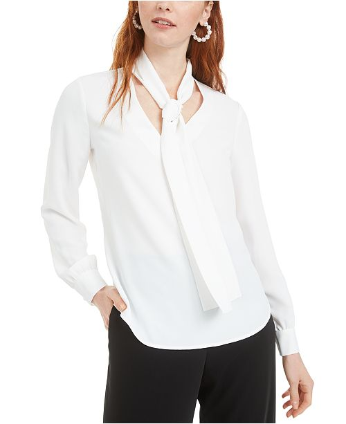 Bar III Tie-Neck Blouse, Created for Macy's
