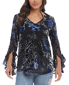 Velvet Burnout Ruffle-Sleeve Top