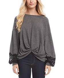 Twisted Lace-Trim Sweater