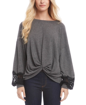Karen Kane Sweaters TWISTED LACE-TRIM SWEATER