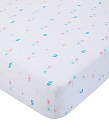 Cotton Sateen Crib Sheet - Elephants & Hearts