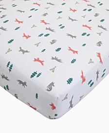 Cotton Sateen Crib Sheet - Fox Print