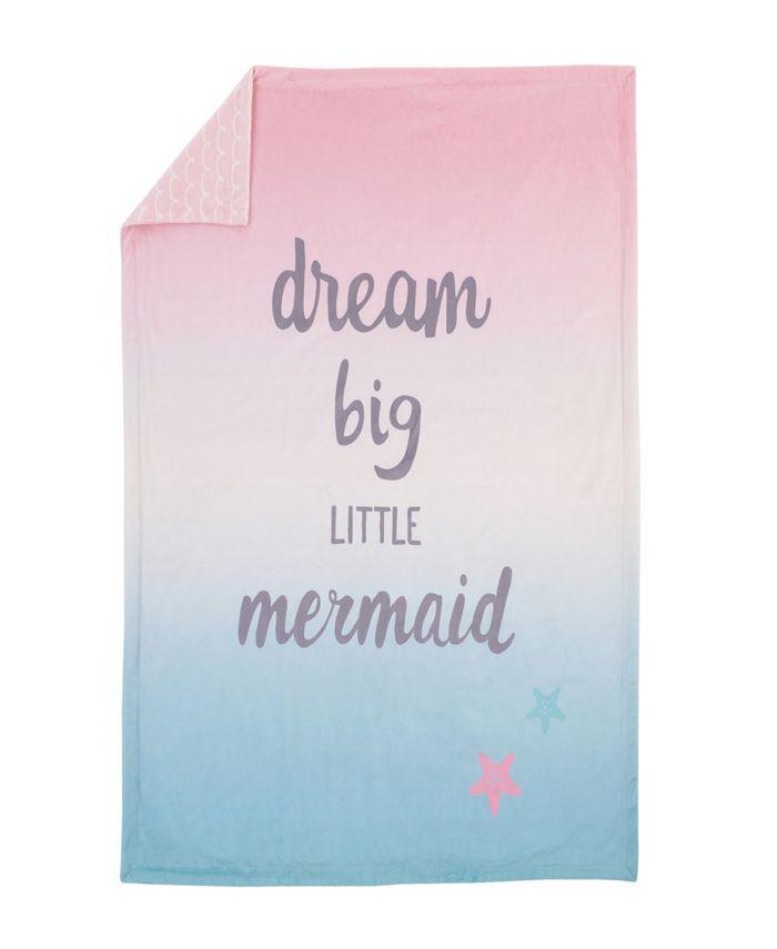 NoJo - Sugar Reef Mermaid Super Soft Ombre Baby Blanket, Dream Big Little Mermaid