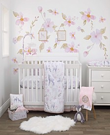 Watercolor Deer 4-Piece Crib Bedding Set