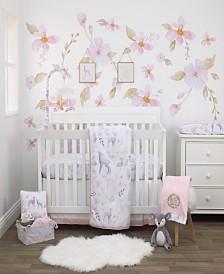 NoJo Watercolor Deer 4-Piece Crib Bedding Set
