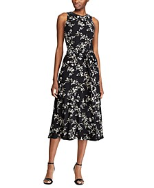 Floral-Print Sleeveless Jersey Midi Dress