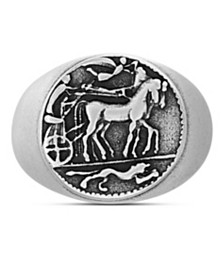 Steve Madden Men's Textured Greek Coin Ring in Stainless Steel