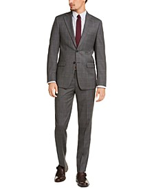 Men's Slim-Ft Stretch Gray Plaid Suit Separates