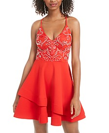 Juniors' Strappy Embellished A-Line Dress, Created for Macy's