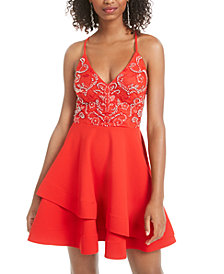 B Darlin Juniors' Strappy Embellished A-Line Dress, Created for Macy's