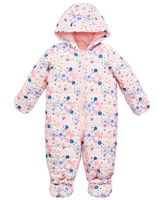 Baby Girls Floral-Print Puffer Snowsuit, Created for Macy's