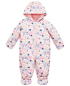 First Impressions Baby Girls Floral-Print Puffer Snowsuit, Created for Macy's
