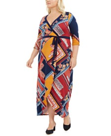 Love Squared Plus Size Printed Faux-Wrap Dress