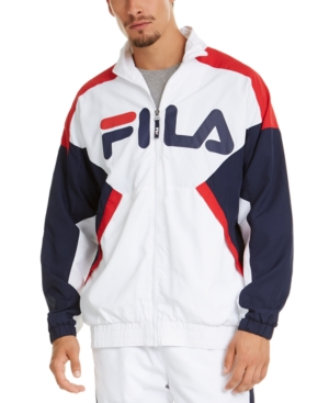 Fila Men's Oliviero Colorblock Logo Windbreaker In White / Red