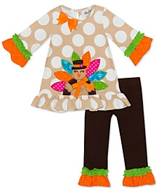 Little Girls 2-Pc. Turkey-Appliqué Top & Leggings Set