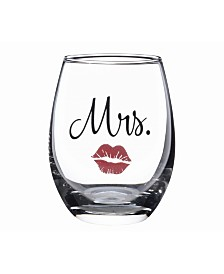 Lillian Rose Mrs. Stemless Wine Glass with Red Lips