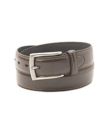 Big-Tall Leather Two-Row Stitching Men's Belt