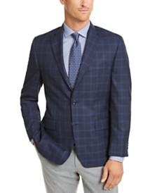 Michael Kors Men's Classic-Fit Navy/Blue Windowpane Sport Coat