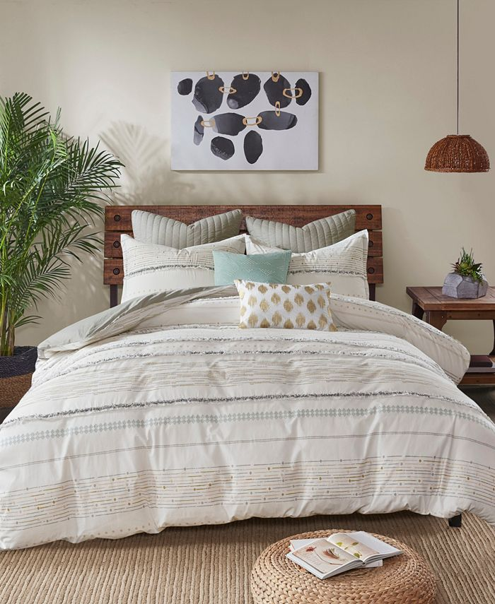 INK+IVY - INK+IVY Nea Full/Queen 3 Piece Cotton Printed Duvet Cover Set with Trims