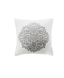 "Design Bukhara 18"" x 18"" Embroidered Cotton Square Decorative Pillow"