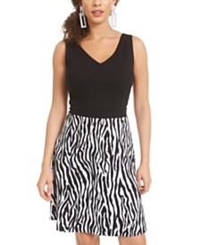 Rosie Harlow Juniors' Zebra-Print Skater Dress