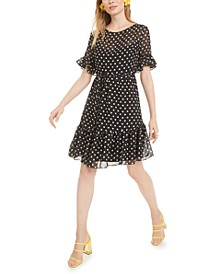 Petite Polka-Dot Fit & Flare Dress
