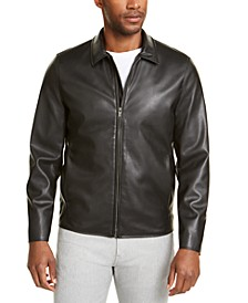 Men's Faux-Leather Harrington Jacket, Created For Macy's