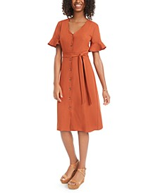 Juniors' Ruffle-Sleeve Shirtdress