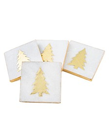 White Marble Gold Pine Tree Coasters, Set of 4