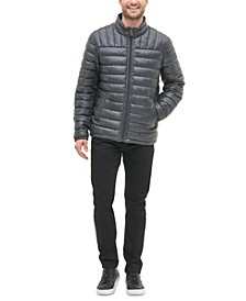 Men's Quilted Faux Leather Puffer Jacket