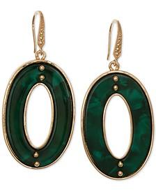Gold-Tone Resin Oval Drop Earrings