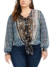 INC Plus Size Printed Tie-Front Blouse, Created For Macy's