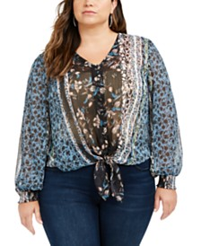 I.N.C. Plus Size Printed Tie-Front Blouse, Created For Macy's