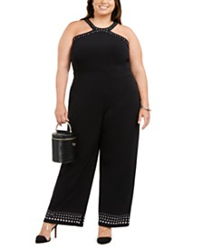 I.N.C. Plus Size Studded Jumpsuit, Created for Macy's