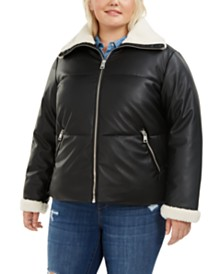 Levi's® Trendy Plus Size  Fleece-Trimmed Faux-Leather Puffer Jacket