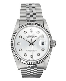 Pre-Owned Men's Stainless Steel Datejust Jubilee With Silver Diamond Dial
