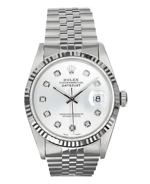 Pre-Owned Rolex Pre-Owned Men's Stainless Steel Datejust Jubilee With Silver Diamond Dial