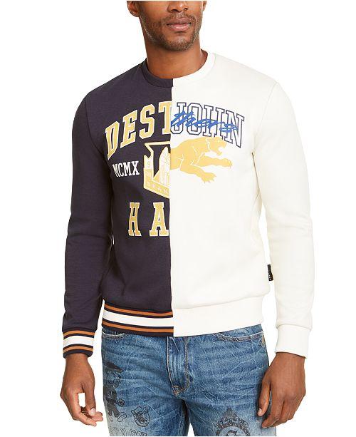 Sean John Men's Varsity Split Destruction Graphic Sweatshirt