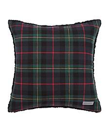Mountain Pine Tartan Dark Green Throw Pillow