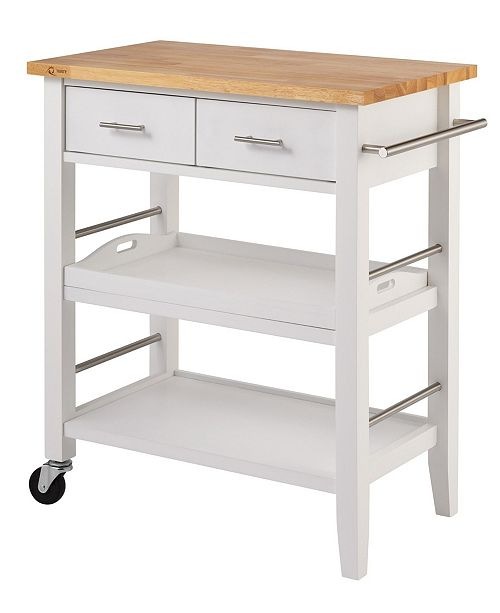 Wood Kitchen Cart with Drawers Tray