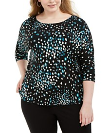 Alfani Plus Size Printed Dolman-Sleeve Top, Created for Macy's