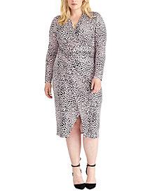 RACHEL Rachel Roy Trendy Plus Size Animal-Print Sheath Dress