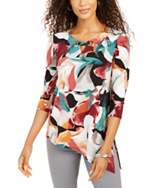JM Collection Petite Printed Asymmetric Tunic Top, Created for Macy's