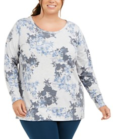 Ideology Plus Size Botanic Printed Lattice-Back Top, Created for Macy's