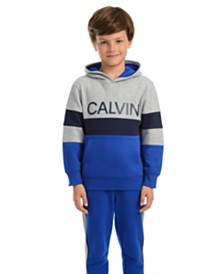 Calvin Klein Little Boys Colorblocked Rugby Stripe Fleece Logo Hoodie