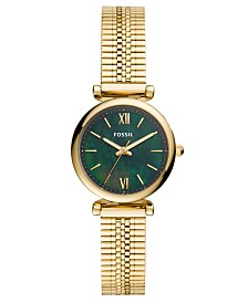 Fossil Women's Mini Carlie Gold-Tone Stainless Steel Mesh Bracelet Watch 28mm