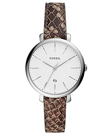 Women's Mini Jacqueline Gray Leather Strap Watch 36mm